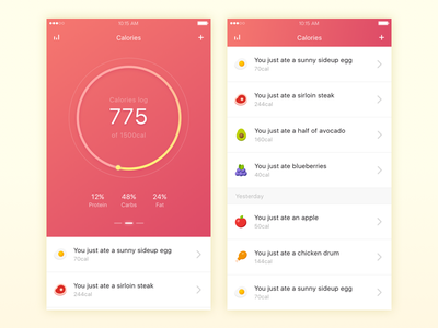 Health - Calorie Counter ui ux ios mobile app health diet food calories calorie