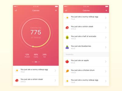 Health - Calorie Counter ui ux ios mobile app health diet food calories calorie
