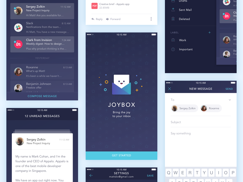 IOS Mail App Freebies minimal design ios ux ui mobile app email