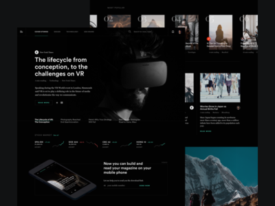 #001 News Dark UI Homepage chart article minimal ui dark headline landing page news