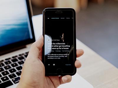 #002 News Dark UI App article story black minimal news dark ui dark pattern dark