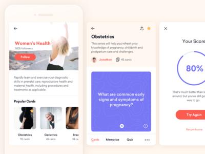 Medical Flashcards App Exploration medical ios app design exploration app flashcard health