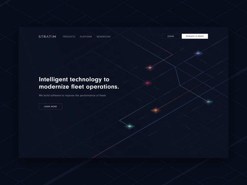 Landing page for fleet operations company - Stratim saas dark landing page dark ui website landing page logistic fleet operations