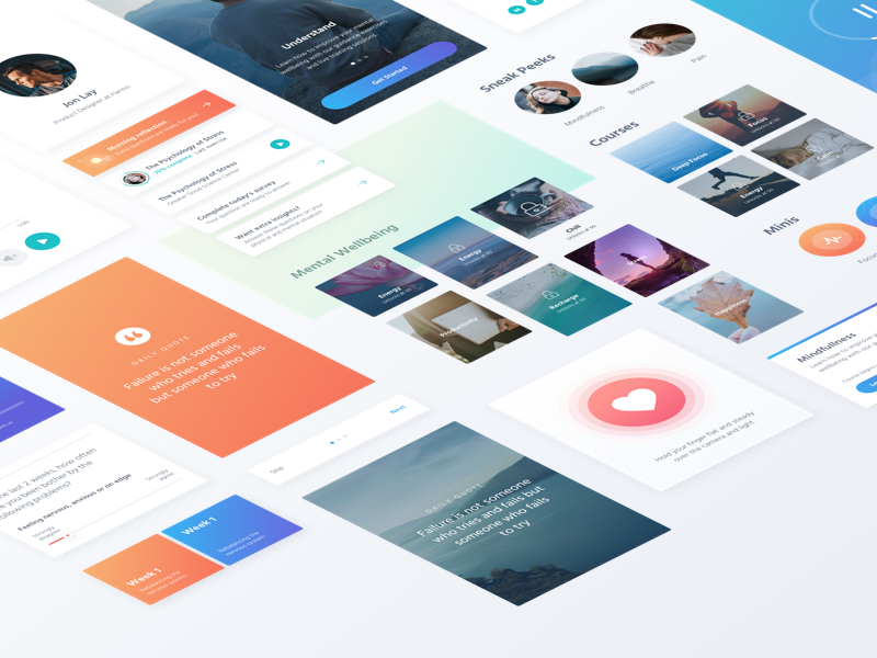 Style Tiles for Psyt meditation health care medical clean user interface ui ui kit personal development mental health style tiles