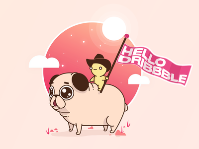 Hello Dribbble 👋🏻 typography flat desert adventure time cute dribbble sky dog clouds flag debut first hello cow bow pug vector design illustration