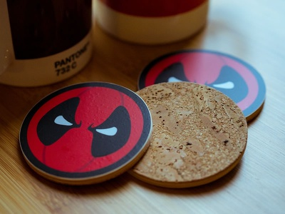 Deadpool wooden coasters logo design graphic design logo design coasters coaster stickermule cocorino deadpool
