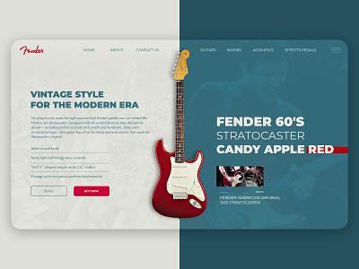 Fender Landing Page web webdesign ux ui stratocaster guitar homepage website design concept landing page fender
