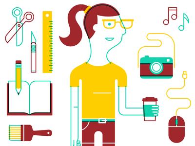 Creators creative scissors exacto ruler sketchbook pencil paintbrush coffee mouse camera girl glasses