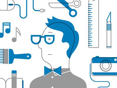 Creator corporate illustration creator hipster bow tie scissors camera ruler exacto glasses character