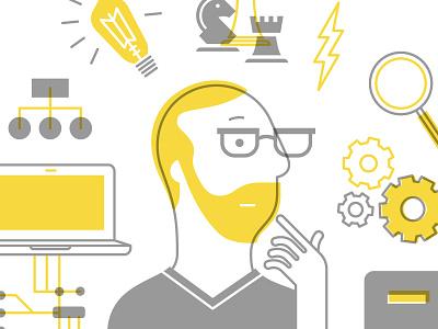 Thinker character think light bulb chess glasses tech web developer programmer gears corporate