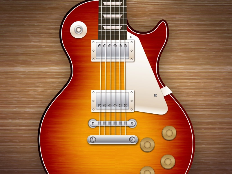 Les Paul les paul gibson electric guitar illustration strings knobs vector
