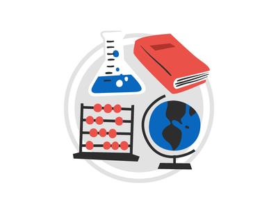 Unused Badge - Science, Literature, Math, Social Studies globe abacus book beaker badge social studies math literature science