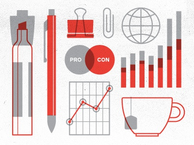 Strategy illustration pen marker tea graph paper clip strategy bar chart infographic icon tools supplies