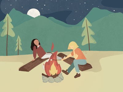 Camping collage outdoors vector texture procreate calm character graphic illustration