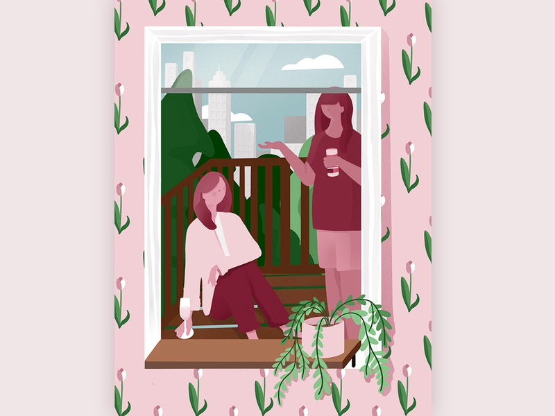 Concrete Garden stayhome character plants pink digital calm graphic garden dribbleweeklywarmup flat illustration