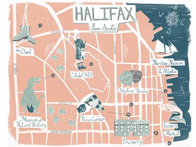 Halifax, Nova Scotia Map illustration