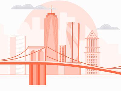 Rose-Colored city vector graphic illustration digital flat monochrome texture illustrator new york