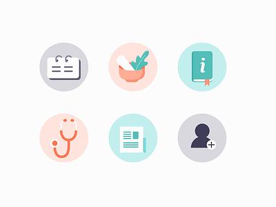 Healthcare Icons calm flat digital graphic iconset vector branding illustrator illustration icons