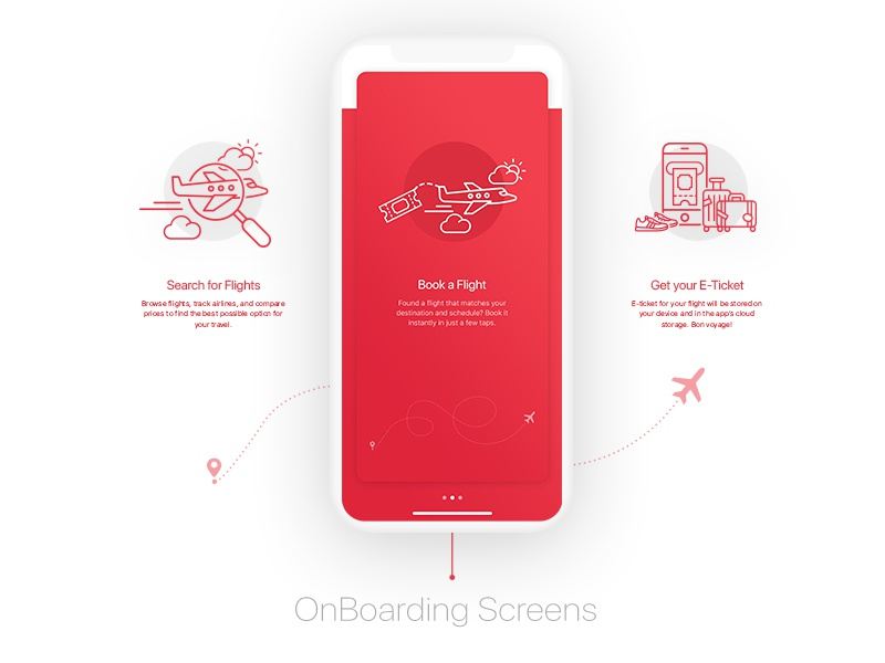 BookAir - Onboarding ui kit red gradient red color minimal app design minimal interface design illustration app functionality travel ui kit travel flight booking app flat booking app design app ux app ui kit app ui app designer app design