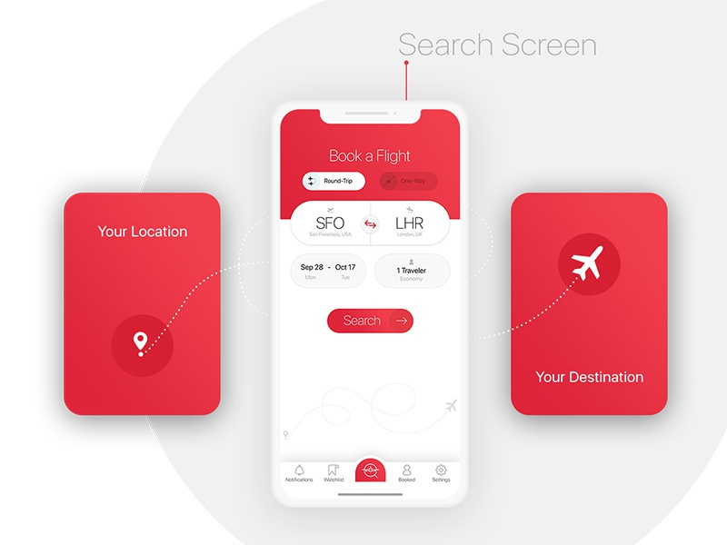 BookAir - Search Screen travel ui kit travel ui kit red gradient red color minimal app design minimal interface design illustration functionality focus flight booking app flat booking app design app ux app ui kit app ui app design