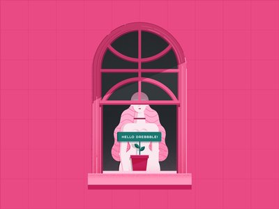 Dribbble Hello girl window pink invite hello firstshot debut illustration