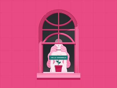 Dribbble Hello girl window pink invite hello firstshot debut illustration