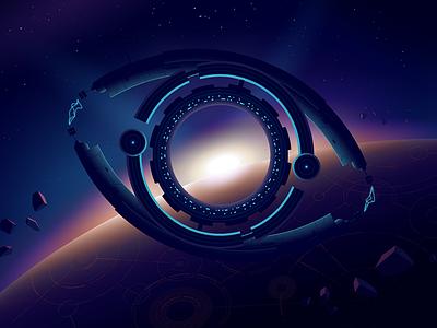 Ambrosus landing illustration meteorite dark iot gradient planet spaceship space eye
