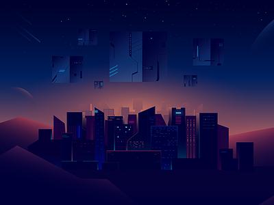 Ambrosus landing illustration 3 blockchain megapolis light planet space futuristic gradient cube city