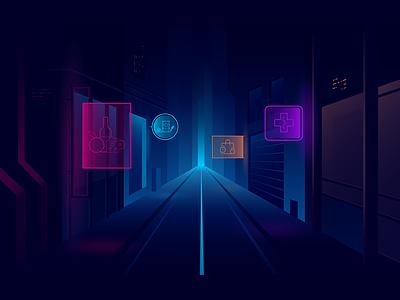 Ambrosus landing illustration 2 dark pharmacology food futuristic gradient road sign neon street