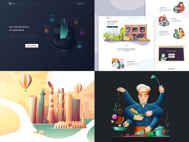 2018 life qatar best products vegitables chef street people texture flat gradient city mascot character landing web illustration