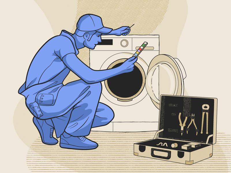 Repair Service illustration web service application wash machine monochromatic worker work man flat platform people illustration