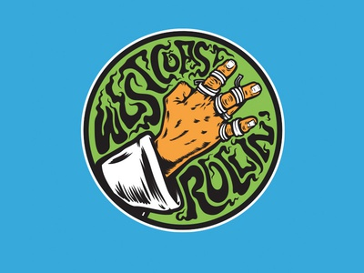 West Coast Rollin' typography illustration jiu jitsu