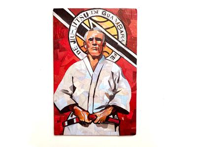 Helio Gracie portrait collage paper art bjj jiu jitsu