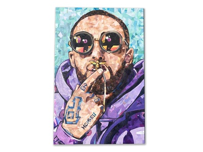 Best Day Ever mac miller portrait wood paper mosaic collage