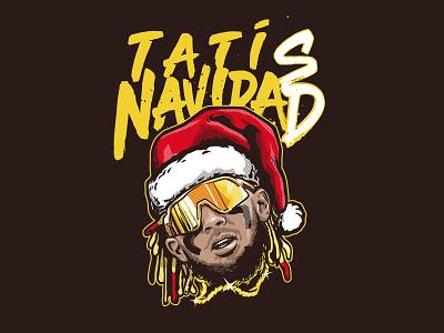 Tatis Navidad sunglasses santa hat padres tatis san diego baseball illustration