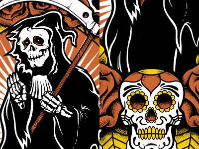 Reaper sugar skull flowers roses reaper mexican