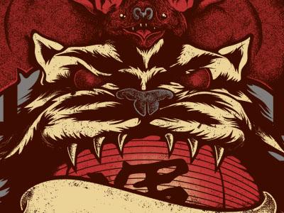 Chinese good luck WIP 2 illustration stippling luck red bat tiger lantern