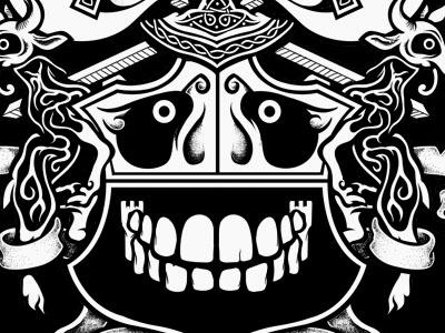 Coat of arms 3 gaunty illustration coat of arms black white celtic knotwork teeth skull goat sword banner