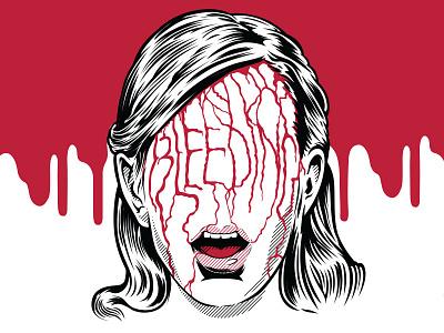 Bleeding drawlloween horror carrie