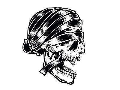 Mummified inktober drawlloween skull mummy