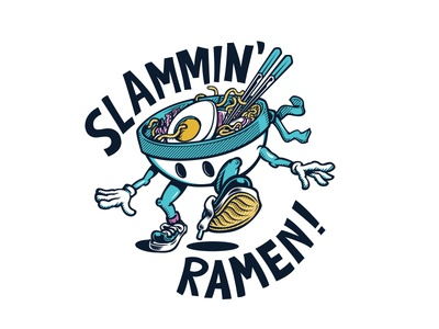 Slammin Ramen chopsticks ramen food illustration
