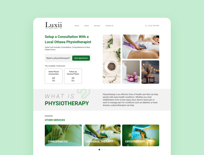 Luxii - Service Page service massage web webdesign wellness healthcare therapy landing design branding ui