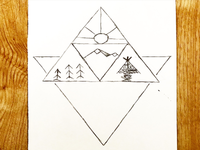 Triangle and Mountains Fineliner Drawing