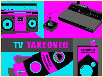 TV Take Over Poster Detail branding clean vector illustrator flat illustration design