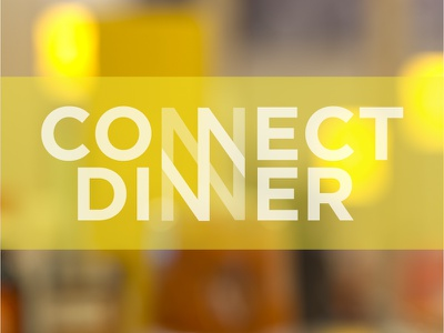 Connect Dinner Postcard abstract typography yellow wordmark connect church