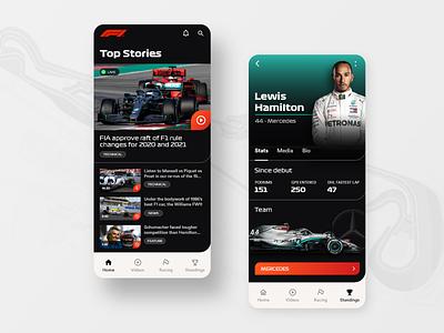 F1 App news media video mercedes benz pit race f1 track hamilton racing car android mobile app ux ui