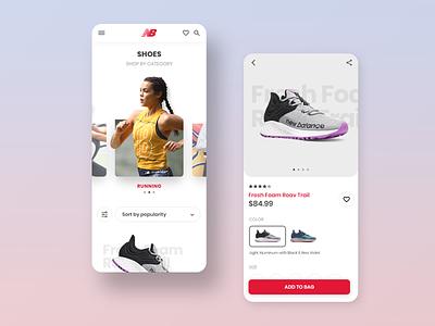 New Balance slider fitness running sport shoe mobile app ux ui