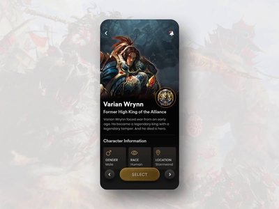 WoW Character Pick character background scaling dark interaction wow deep slide parallax gaming warcraft motion mobile app ux ui