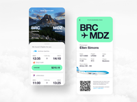 Flight booking and boarding pass search qr cloud world planet book reservation trip travel airline pass boarding booking flight plane design mobile ui ux