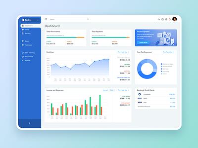 Accounting App Dashboard donut widget sidebar cashflow money income chart booking accounting dashboard design app ux ui